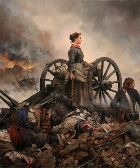 """""""Agustina de Aragón"""", cuadro del pintor actual Augusto Ferrer-Dalmau"""