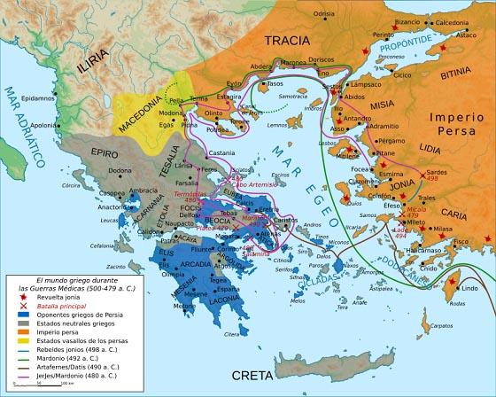 Mapa del mundo griego durante las Guerras Médicas, preludio a la formación de la Liga de Delos.