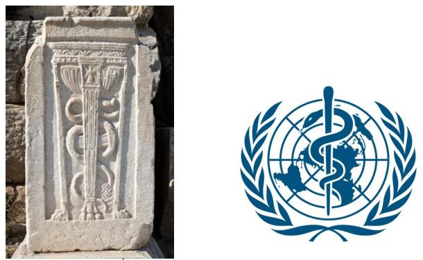 Relieve de Éfeso con el bastón y la serpiente y logotipo de la OMS