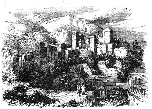 Grabado de la Alhambra de Granada, contenido en la obra Los monfíes de las Alpujarras, Manuel Fernández y González, 1859.
