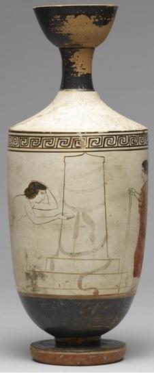 Lécito decorado con la escena de dos mujeres decorando una tumba