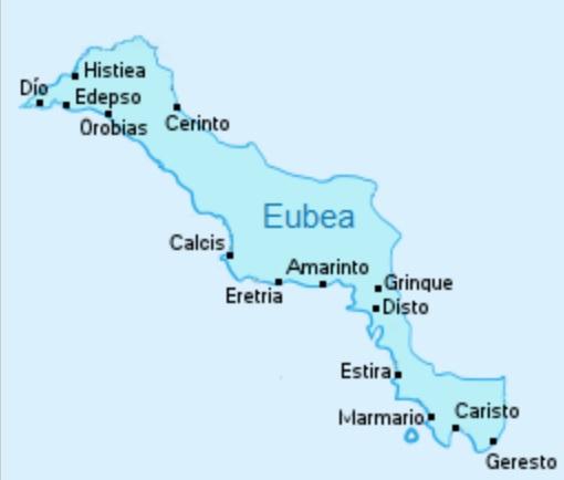 Mapa de las principales ciudades griegas antiguas de la región de Eubea, al norte de Atenas