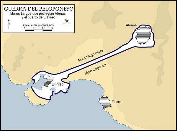Mapa de los Muros Largos entre Atenas y el puerto del Pireo