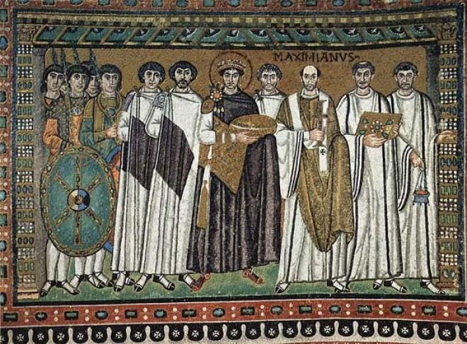 Mosaico del emperador Justiniano en la iglesia de San Vital en Rávena