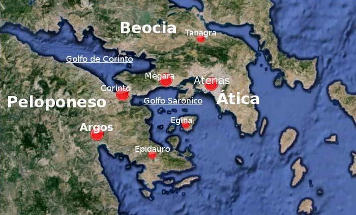Ubicaciones de las ciudades de Tanagra, Mégara, Corinto y Atenas, escenarios de la Primera Guerra del Peloponeso