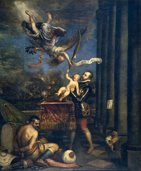 Cuadro alegórico de la batalla de Lepanto hecho por Tiziano