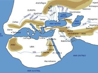 Mapa del mundo según Herodoto de Halicarnaso a mediados del siglo V aC