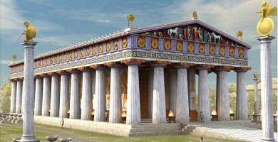 Posible reconstrucción del templo de Zeus en Olimpia