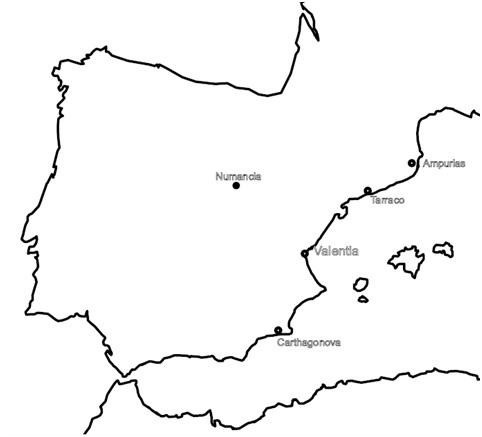 Principales asentamientos romanos durante la segunda mitad del siglo II aC en la costa mediterránea y Numancia
