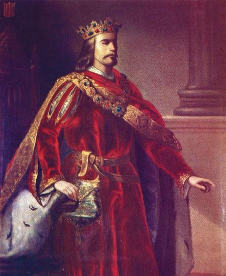 Retrato imaginario de Alfonso IV, hijo de Jaime II de Aragón, hecho por Manuel Aguirre y Monsalbe en el siglo XIX