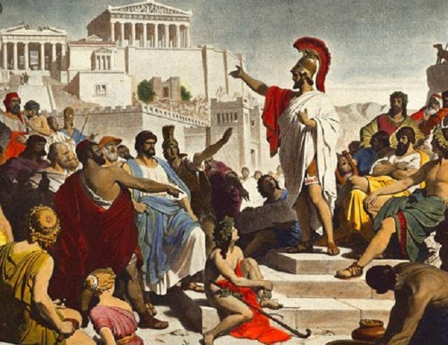 Ilustración idealizada en la que se representa a Pericles hablando en la asamblea ateniense