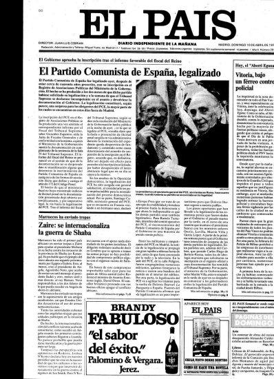 Portada del periódico El País el día en que se aprobó la legalización del PCE