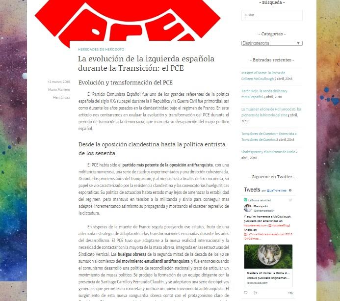 Captura de pantalla de uno de los artículos de la web La Trova