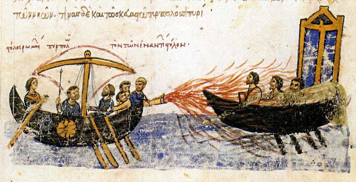 Ilustración de una crónica bizantina en la que se representa el fuego griego