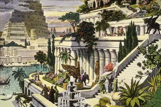 Los jardines colgantes de Babilonia, según van Heemskerck
