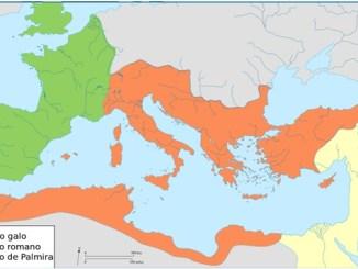 Mapa de las principales divisiones del Imperio Romano en el siglo III de la era, incluyendo el Imperio Galo