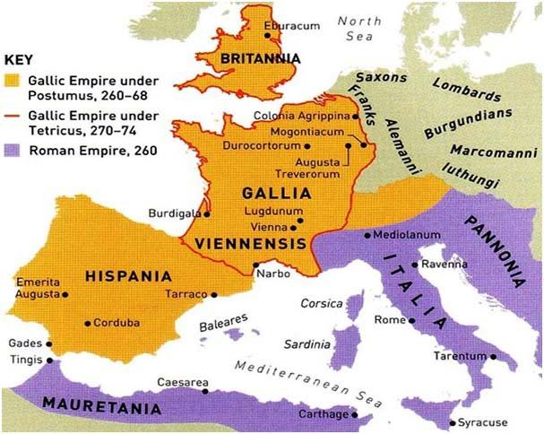 Mapa en inglés del Imperio Galo Mapasimperialescom