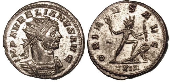 Moneda que representa al emperador Aureliano derrotando al Imperio de Palmira