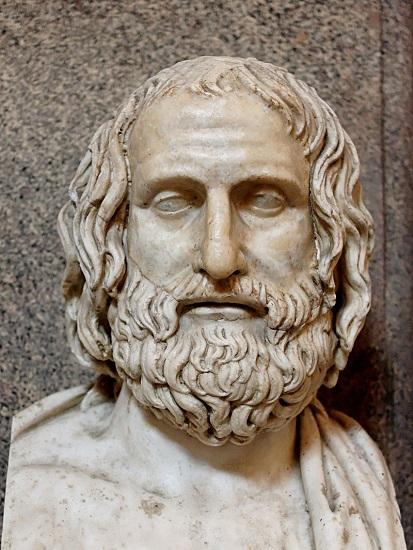 Copia romana de un busto griego de Eurípides, uno de los más célebres autores de tragedia griega