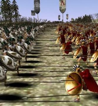Ilustración que representa un enfrentamiento entre atenienses y espartanos