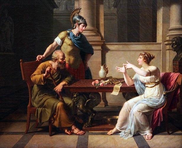 El debate entre Sócrates y Aspasia. Su ejecución fue una de las consecuencias de la guerra del Peloponeso