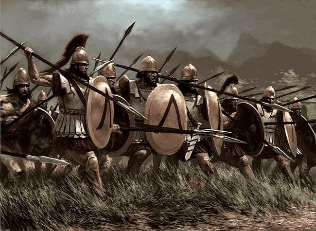 Ilustración de una falange espartana avanzando (Arrecaballo)