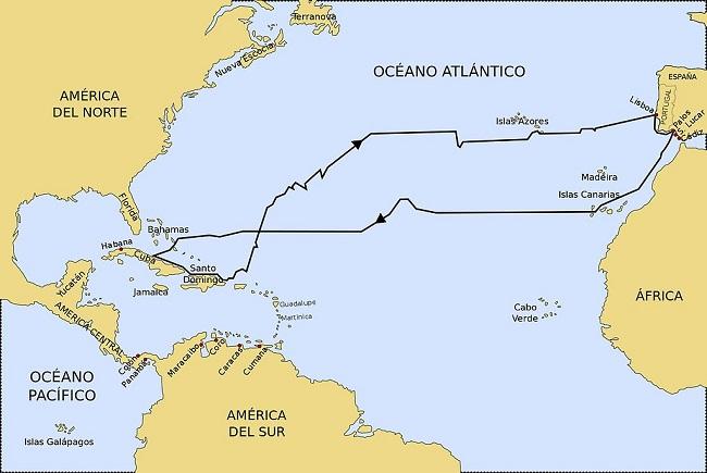 Reconstrucción del itinerario del primero de los cuatro viajes que Colón realizó a América