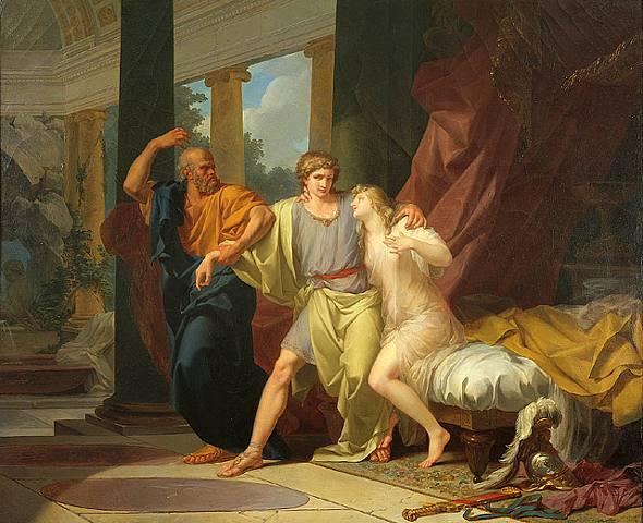 Sócrates buscando a Alcibíades en la casa de Aspasia, de Jean-Léon Gérôme (1861)
