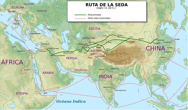Mapa de la Ruta de la Seda hace 2000 años, en el siglo I d.C.