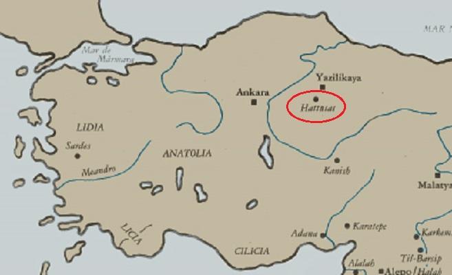 Mapa de la península de Anatolia que señala la ubicación de la ciudad