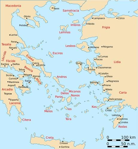 Mapa de las ciudades y regiones del mundo griego en la Guerra decélica, incluyendo Atenas y Esparta