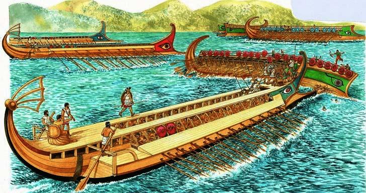 Ilustración que recrea la batalla naval de las Arginusas