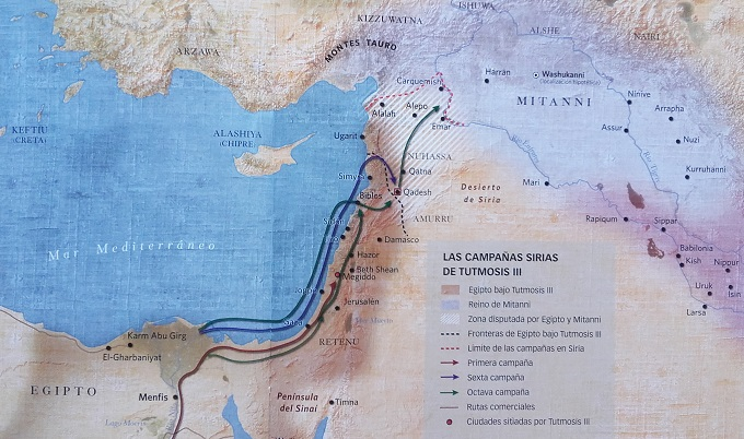 Mapa de las campañas sirias de Tutmosis III, incluyendo la batalla de Megido