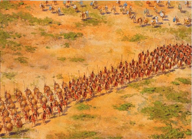 Ilustración que recrea la disposición del ejército espartano en la batalla de Coronea (Arrecaballo)