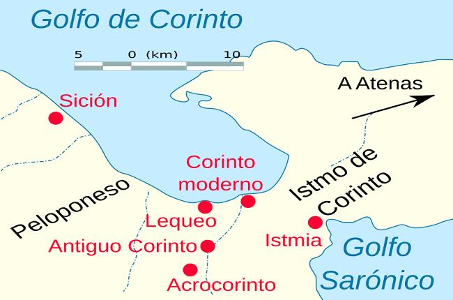 Mapa del entorno de Corinto en el que se ve Lequeo