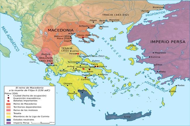 Mapa de Grecia en el siglo IV a.C., concretamente a la muerte de Filipo II de Macedonia, en el 336 a.C.