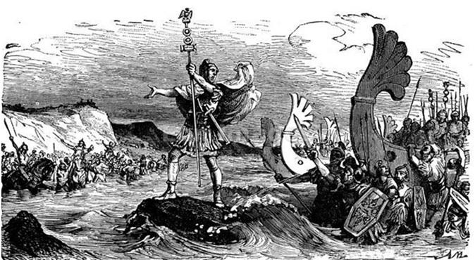 """""""Landing of the Romans in Britain"""" (grabado del siglo XIX)"""