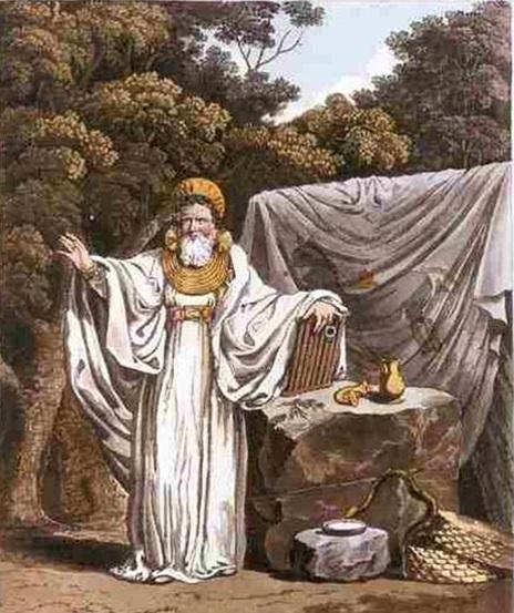 Druida del druidismo idealizado con varios símbolos paganos de la sabiduría y sus funciones
