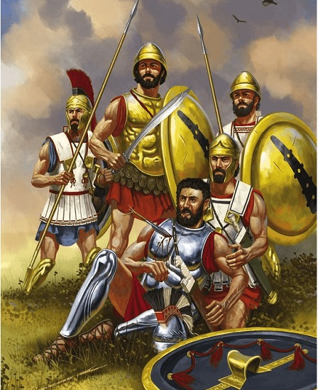 Ilustración que representa la muerte de Epaminondas durante la batalla de Mantinea (Arrecaballo)