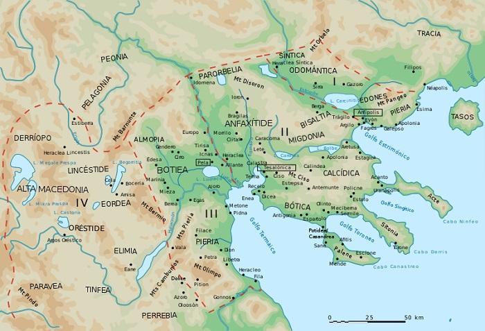 Mapa de las principales regiones y ciudades de la antigua Macedonia
