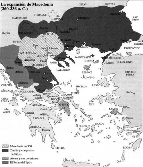 Mapa del reino de Macedonia entre el 360 y el 336 aC