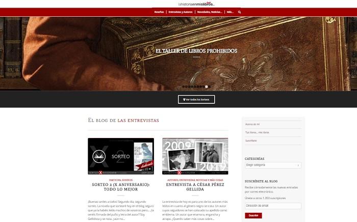 Captura de pantalla de la web La Historia en mis libros