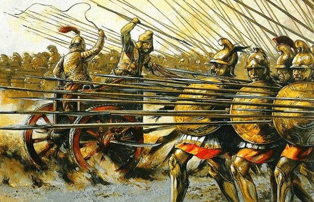 Ilustración de la batalla de Gaugamela 331 aC Arrecaballo