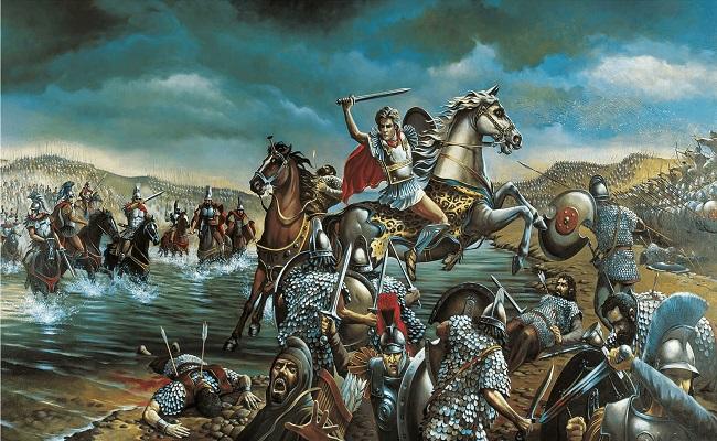 Ilustración de la batalla de Issos 333 aC Arrecaballo