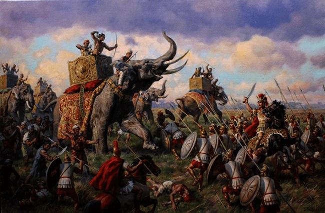 Ilustración sobre la batalla de Hidaspes, uno de las últimas conquistas de Alejandro Magno. Arrecaballo
