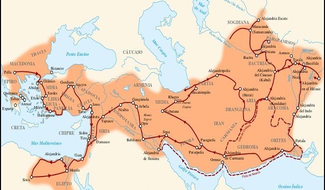 Mapa de la máxima extensión del imperio de Alejandro Magno