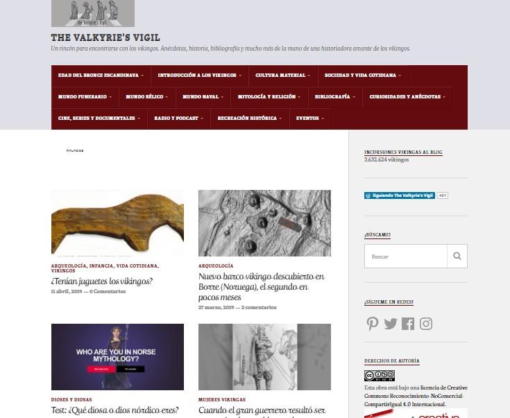 Captura de pantalla de la web The Valkyries Vigil
