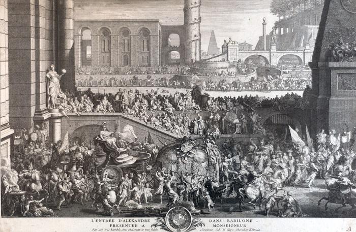Grabado sobre la entrada de Alejandro Magno en Babilonia hecho por Sébastien Le Clerc en 1690