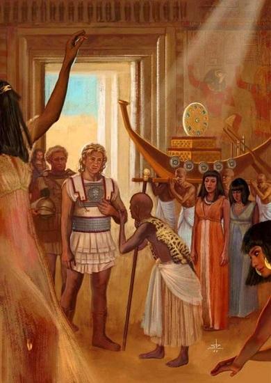 Ilustración que representa la visita de Alejandro Magno al oráculo de Siwa