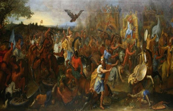 La batalla de Gaugamela según el pintor Charles le Brun en 1669